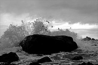 Wave breaking over rock w birds - Smith River, CA 1969-04b